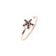 Nusret Takı 925 Ayar Gümüş Minik Yıldız Taşlı Yüzük, Pembe - Siyah Taş