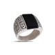 Akyüz Gümüş Siyah Akik Taşlı Gümüş Yüzük Ey035