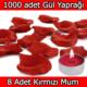 Chavin 1000 Adet Gül Yaprağı-Gül Yaprakları-Kırmızı Mum