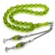 Anı Yüzük 925 Ayar Gümüş Çift Püsküllü Yeşil Sıkma Kehribarlı Tesbih
