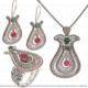 Çağrı Gümüş El İş Telkari Lal Modeli Gümüş Üçlü Set Takı Midyat