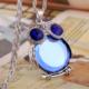 Chavin Özel Avusturya Kristali Mavi Taş Büyük Baykuş Bayan Kolye Dm55Mv