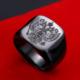 Chavin Siyah Çift Başlı Kartal Kraliyet Erkek Çelik Yüzük Dm87 19