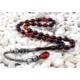 Tesbihevim Karışık Renk Sıkma Kehribar Tesbih 1000 Ayar Gümüş Kazaz Püsküllü Kht-647