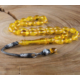 Tesbihevim Su Damlası Model Sarı Renk Sıkma Kehribar Tesbih Kht-675