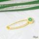 Bilezikci Yeşil Göz Boncuğu 14 Ayar Altın Çengelli İğne