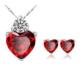 Myfavori Takı Seti Kırmızı Kalp Kristal Küpe Kolye Seti