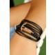 Hediyeliksepeti Çelik Çapa Detaylı Siyah Örgü Deri Erkek Bileklik Eb1071