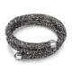 Monemel Swarovski® Taşlı Crystal Dust Bileklik - Dark Silver