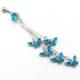Solfera Sallantılı Mavi Kelebekler Göbek Piercing P305