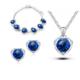 Myfavori Takı Seti Kalp Takı Seti Mavi Kolye Bileklik Yüzük Küpe Nişan Düğün Söz Takı Setleri