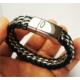 Osmanlı Gümüş Deri Çelik Örme Erkek Bileklik Künye Üst Düzey Kalite