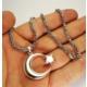 Osmanlı Gümüş Gümüş Ayyıldız Kral Erkek Kolye Zincir