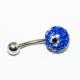 Cadının Dükkanı 316 L Cerrahi Çelik Mavi Taşlı Çiçekli Göbek Piercing K1130