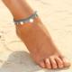 Hane14 Beach Lira & Turkuaz Boncuklu 2'Li Halhal Silver