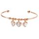 Lio Jewels 925 Ayar Altın Kaplama Gümüş Üçlü Kalp Taşlı Topçuklu Ayarlanabilir Tel Bilezik