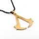 Solfera Assassin'S Creed Sarı Çelik Siyah Zincir Erkek Kolye K851
