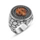Tesbihane Özel Tasarım Zirkon Taşlı Selçuk Kartal Gümüş Yüzük