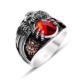 Tesbihane 925 Ayar Gümüş Son İmparator Yüzüğü (Kırmızı Taşlı)
