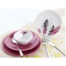 Keramika Takım Yemek Ege 24 Parca Beyaz 004-Frambuaz 553 Leaf Frambuaz A