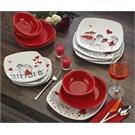 Keramika Köşem 24 Parca Yemek Takımı Beyaz004-Kırmızı 506 Kera-Mira A