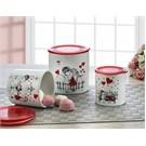Keramika Set Saklama Kabı 10-10-12 Cm 3 Parca Beyaz004-Kırmızı 506 Kera-Mıra A