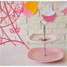 Keramika Set Meyvalık Köşem 2 Katlı Beyaz 004-Pembe Açık 551 Pink Cake A