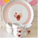 Keramika Set Hitit Kahvaltı 8 Parça Beyaz 004 Pink Cake A