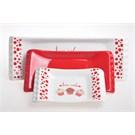 Keramika Set Kayık Selen 18-24-33 Cm 3 Parca Beyaz004-Kırmızı 506 Fruıt Cake A