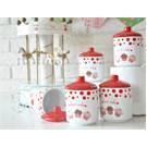 Keramika Takım Baharat Köşem 10 Cm 10 Parca Beyaz004-Kırmızı 506 Fruıt Cake A