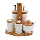 Fidex Home Bambu Porselen Yaglık Sirkelik Baharatlık Set 6 Parca