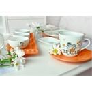 Keramika Set Kosem Kahvaltı 14 Parca Beyaz 004-Turuncu 200 Keramıra Turuncu A