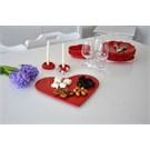 Keramika Kalp Ordövr Tabağı 30 Cm Kırmızı