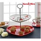 Keramika Set Meyvalık Kalp 2 Katlı Beyaz004-Kırmızı 506 Kera-Mıra