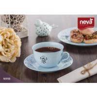 NEVA N998 Rosemary Dantel S 12 Parça Çay Takımı Turkuaz