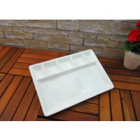 Lucena Altı Bölmeli Kahvaltı Tabağı - Beyaz