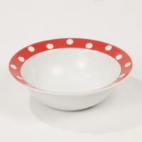 Kütahya Porselen Kırmızı Puantiyeli Çorba Kasesi Servis Tabağı Pasta Tabağı