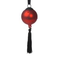 EveryThing Kırmızı Taşlı-Siyah Püsküllü Yılbaşı Süsü -6X6X18 cm