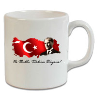 XukX Kupa Renkli Bayraklı Atatürk Kupa