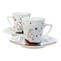 Cats By Luyano 200 Cc Çay Fincanı 2 Li Set Kalpler