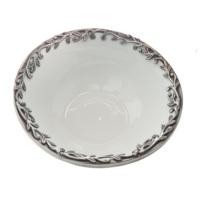 Casa di Mona Gümüş Eskitme Görünümlü Pirinç Bordürlü Sarmaşık Çukur Servis