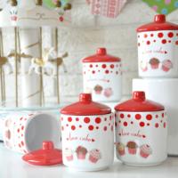 Keramika Kosem 10 Parça Baharat Takımı Beyaz Kırmızı Fruıt Cake 10 Cm