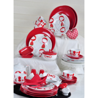 Keramika 34 Parça Kahvaltı Seti Beyaz Kırmızı Straweberry