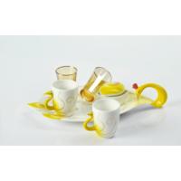 Yargıcı Porselen Kuğulu Sarı 6lı Kahve Takımı