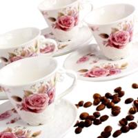 Matmazel Rose Pembe Güllü Kahve Fincanı 6lı