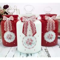 Dekorelle Greengate Kırmızı Beyaz Cam Kavanoz Seti 1.5 lt.