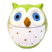 LunArt Baykuş Kavanoz Orta Yeşil 13x13 cm