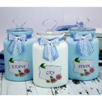 Dekorelle Roses Mavi Beyaz Cam Kavanoz Seti 1.5 lt.