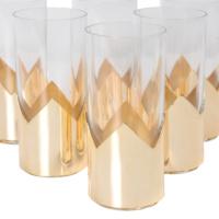 6lı Altın Kaplı Rakı Bardağı 13x6 Cm