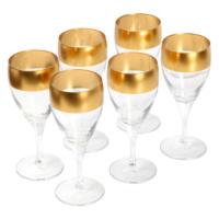 6lı Üst Kısmı Altın Renkli Şarap Kadehi 19 cm